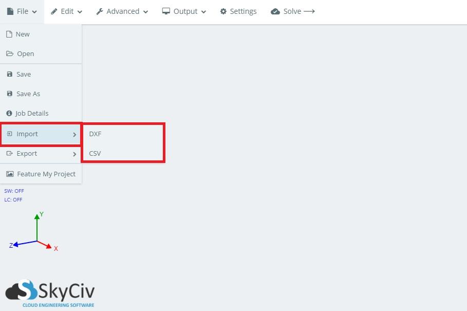 Importing Exporting | SkyCiv Documentation