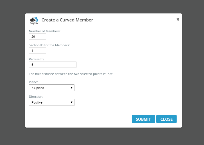 curved member popup
