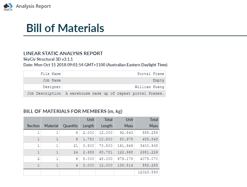 Bill of materials in SkyCiv structural analysis report