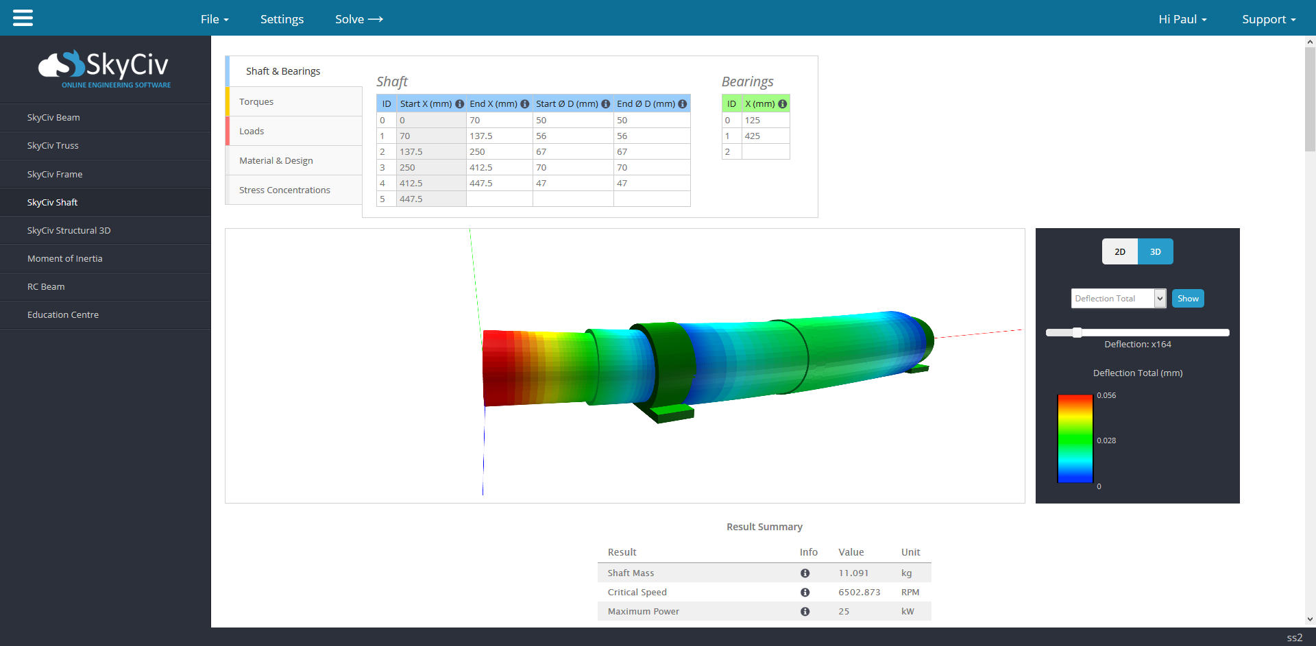 clean and easy user interface of shaft calculator, using skyciv shaft analysis software