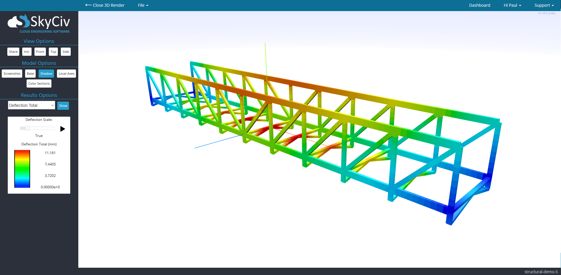 Free online truss calculator skyciv cloud engineering for Order trusses online
