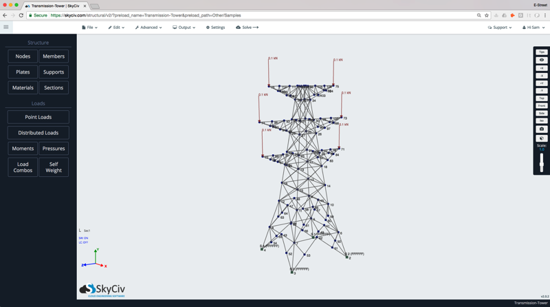 Structural Design Software on the Cloud, fram analysis of a Transmission Tower