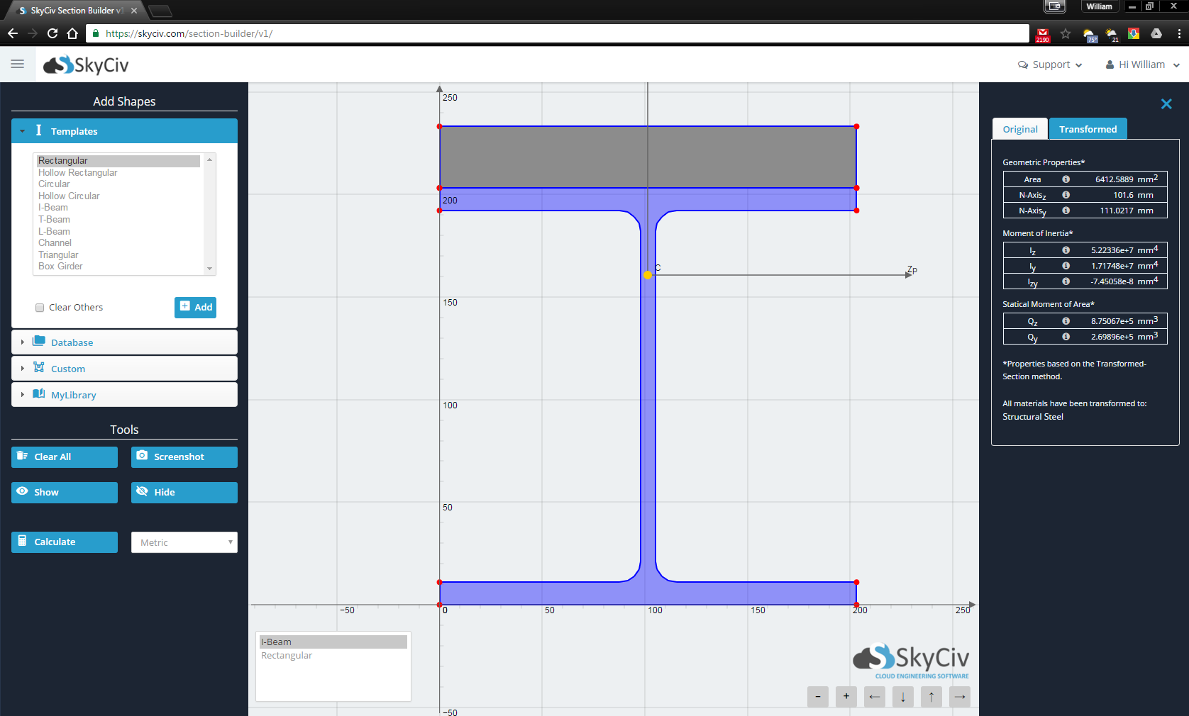 Skyciv Beam Software Tutorial On How To Calculate Shear Force In Beams Bending Example Of A Custom Section Being Built Up Concrete And Steel Using