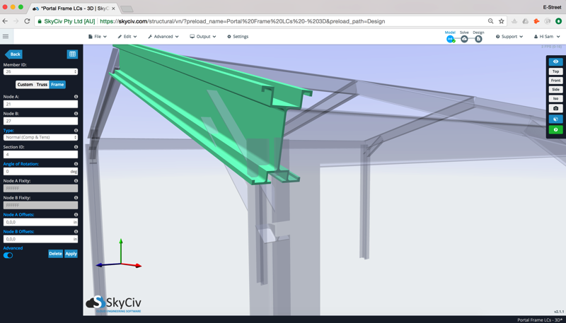 Custom section shape being shown integrated with Structural Analysis software