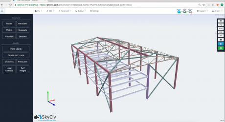 Wireframe of a plant structure analyzed by AISC 360 in 3D renderer mode before analysis