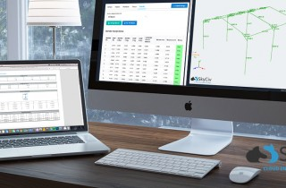 SkyCiv design software being showcased on multiple devices