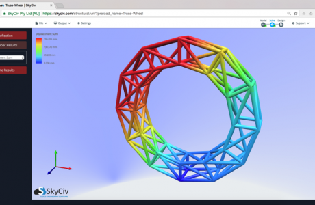 Circular Truss structure built by SkyCiv Structural Analysis Software - 3D renderer view