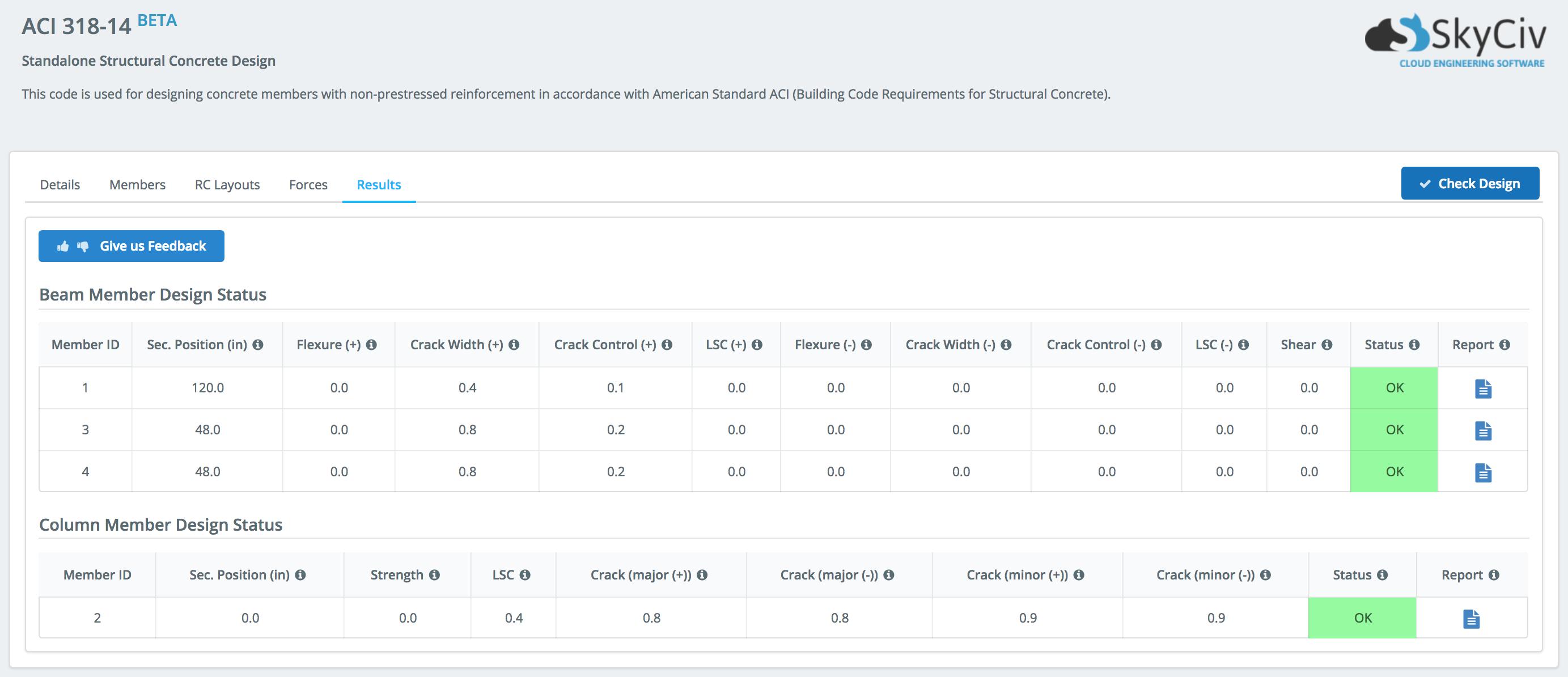 ACI-318 concrete design software showing results