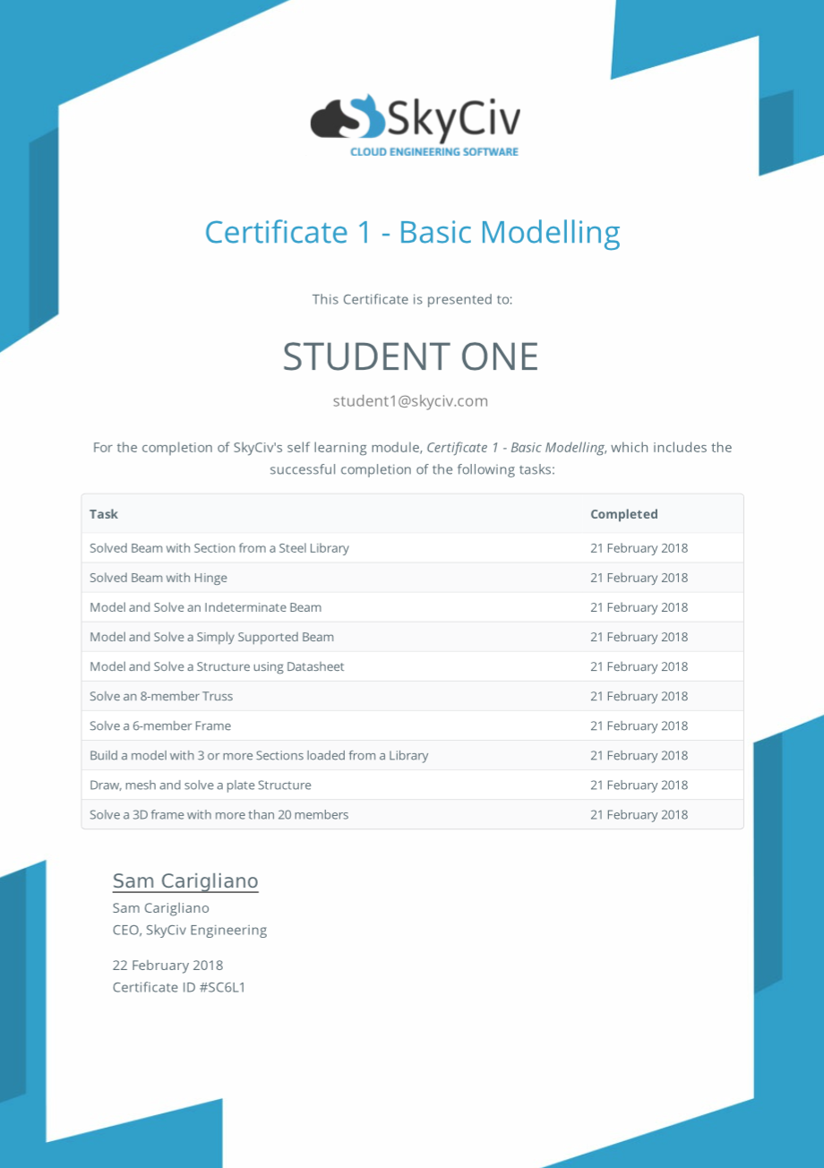 student training certificate for structural analysis software