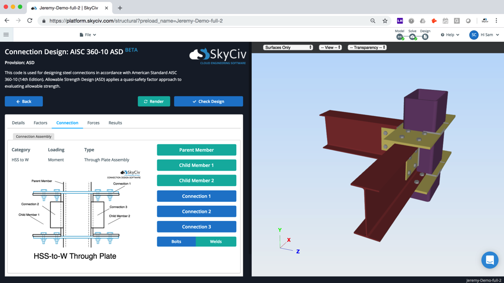 Moment Connection | SkyCiv Cloud Structural Analysis Software