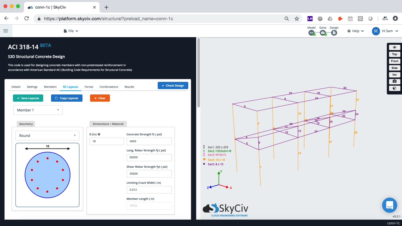 integrated with Structural Design Software on the Cloud, integrated with AISC 360 steel structures