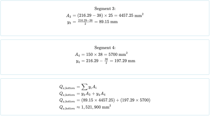 Calculating the Statical or First Moment of Area of Beam Sections - 3