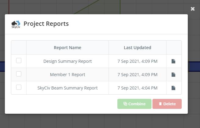 SkyCiv Beam Project Reports