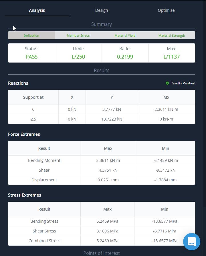 SkyCiv Beam Results