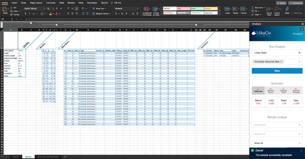 SkyCiv for Excel - Analysis task pane