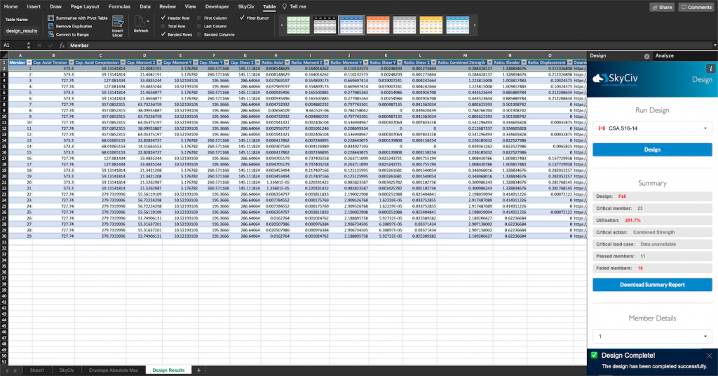 SkyCiv for Excel - Design task pane