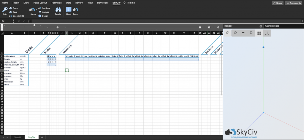 SkyCiv for Excel - adding nodes to an excel model