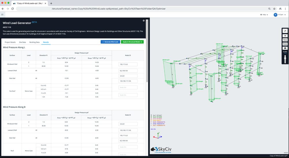 wind-design-software-asce 7 10 showing the integration with skyciv structural analysis software