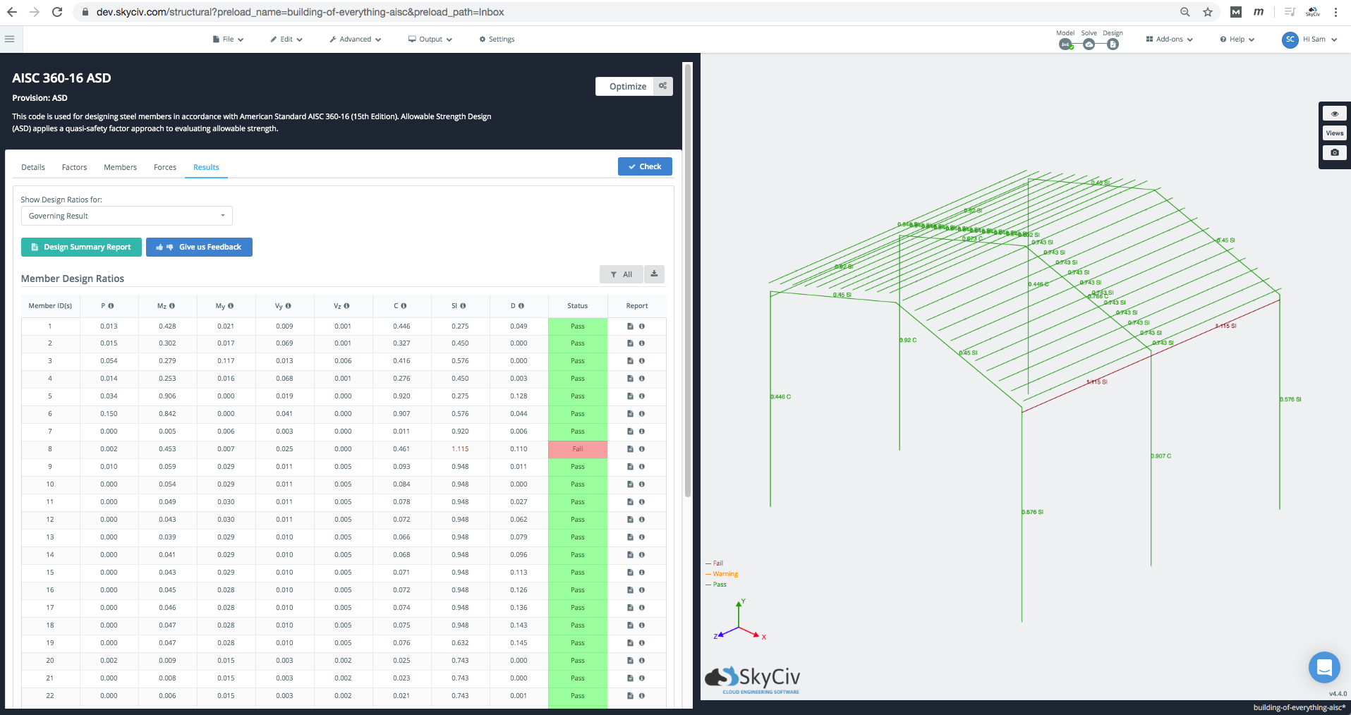 optimization-run-results-aisc-skyciv-structural-analysis-software