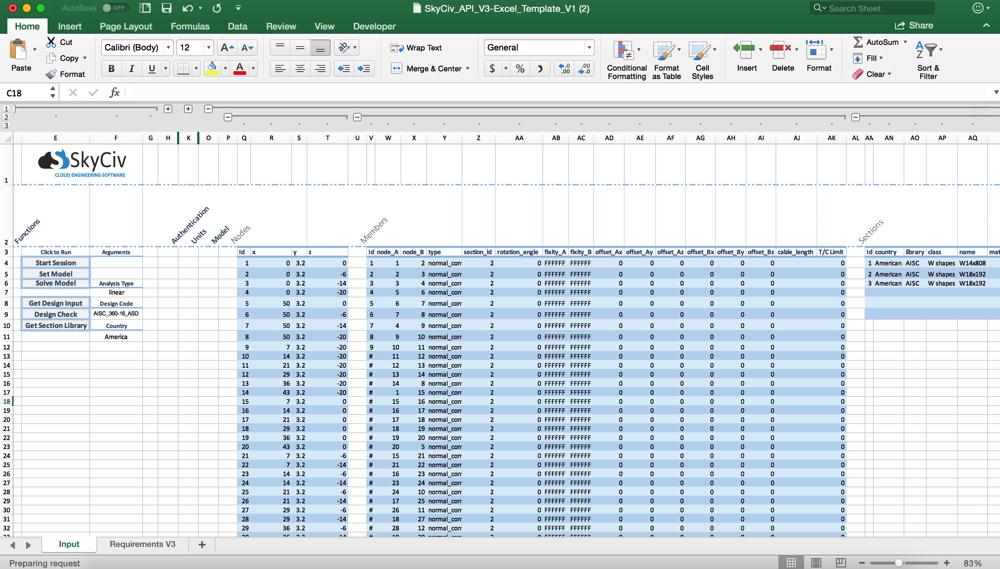 skyciv structural analysis integrates with microsoft excel via excel skyciv plugin