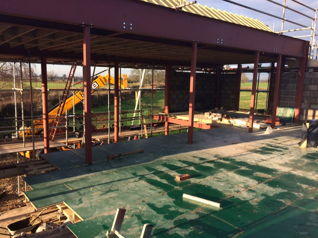 Pic - First Floor Suspended via SHS from Roof Beams