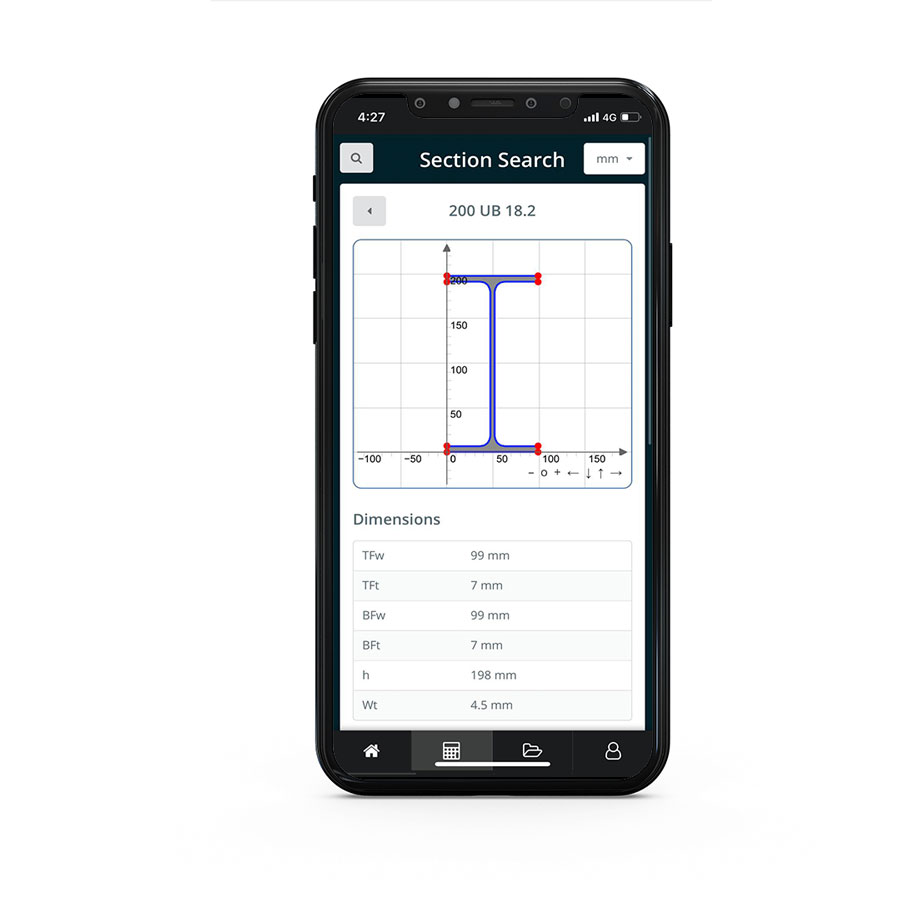 the skyciv mobile app includes a section database library where users can search and browse through section libraries including AISC AISI NDS and more...