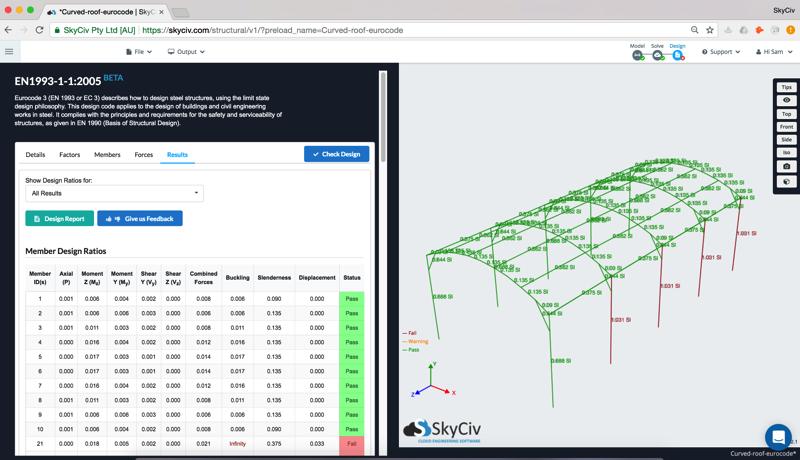 Eurocode 3 design software results skyciv