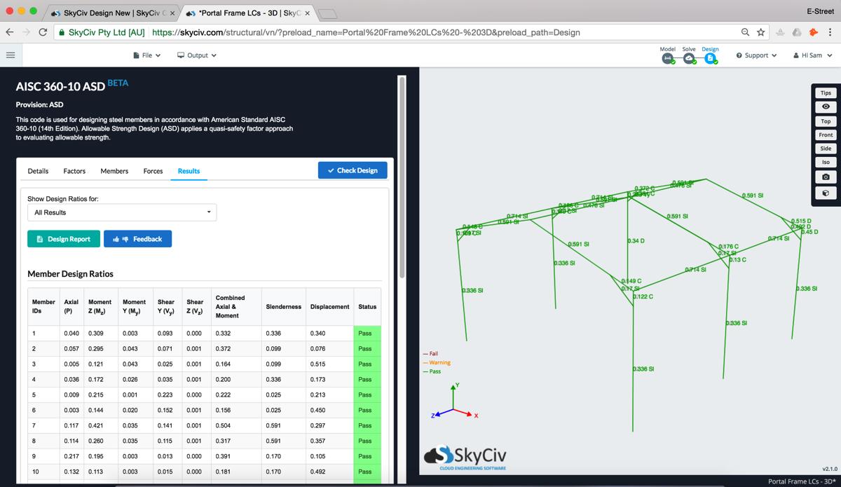 SkyCiv AISC-360 Free Design Software Integrated S3D
