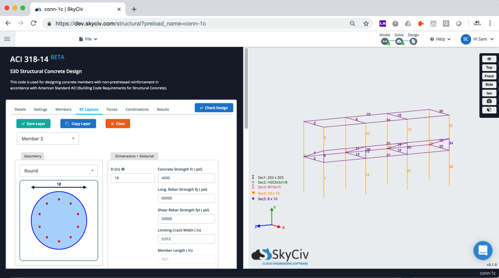 aci-318-14 design software skyciv integrated