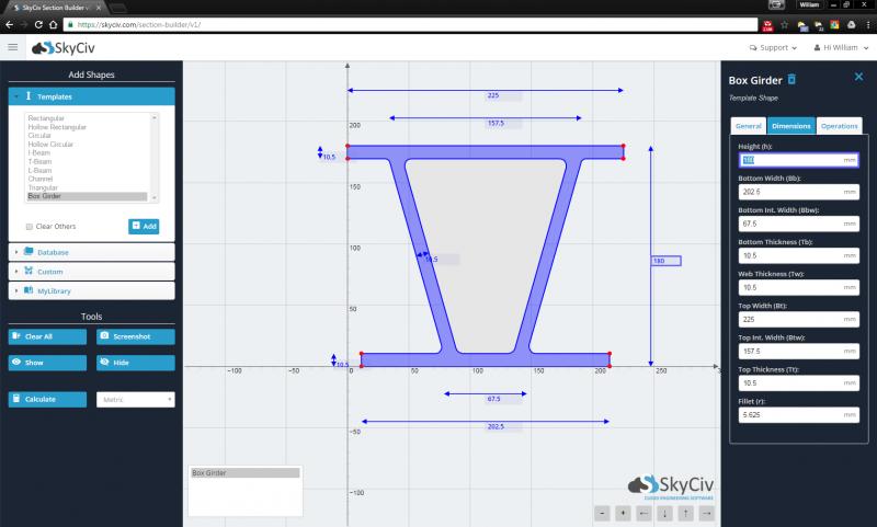 SkyCiv Boxgirder Section Builder