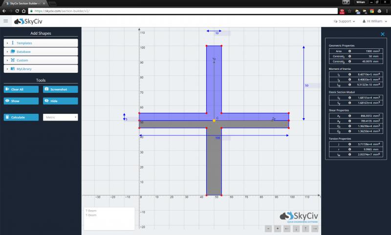 SkyCiv Crossed T Beam