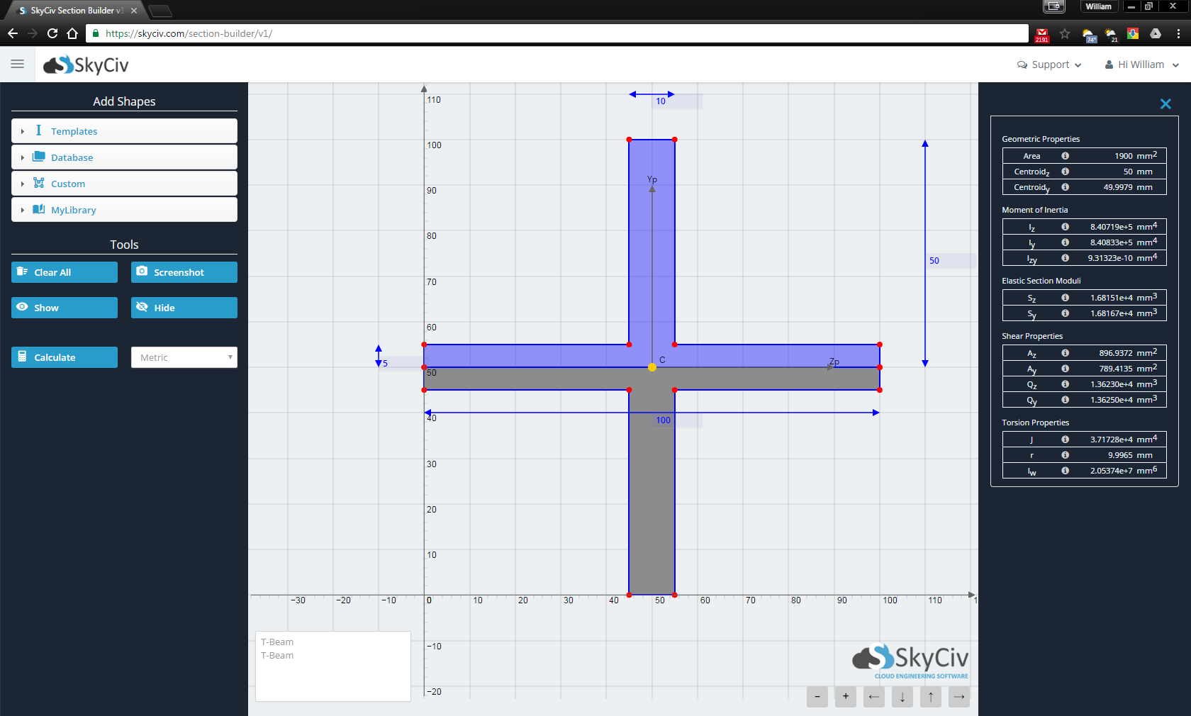 SkyCiv Crossed T Beam Software Section Builder Online