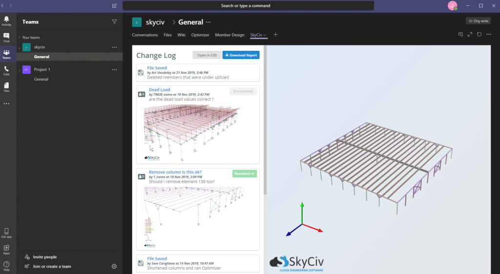 SkyCiv Microsoft Teams structural Engineering Software