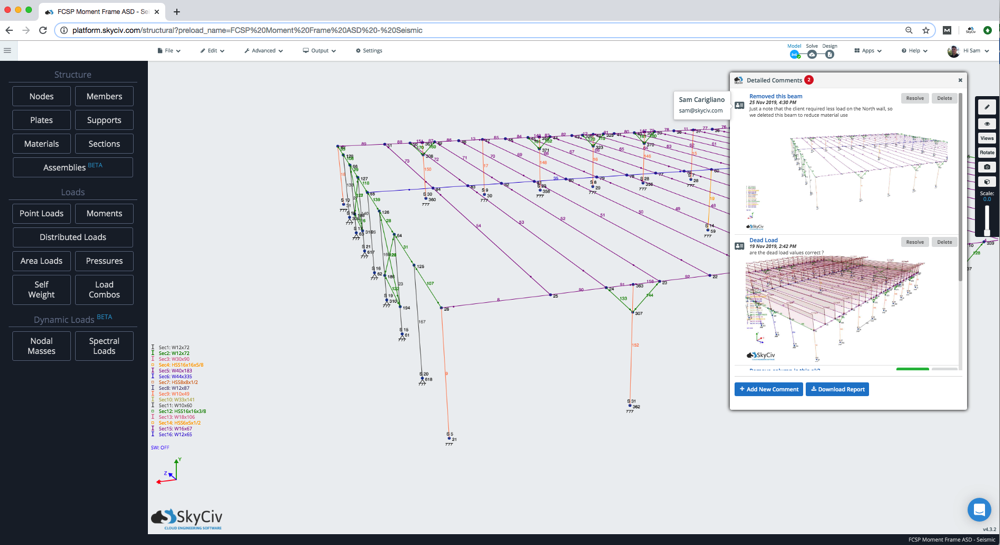 skyciv structural analysis software comment feature