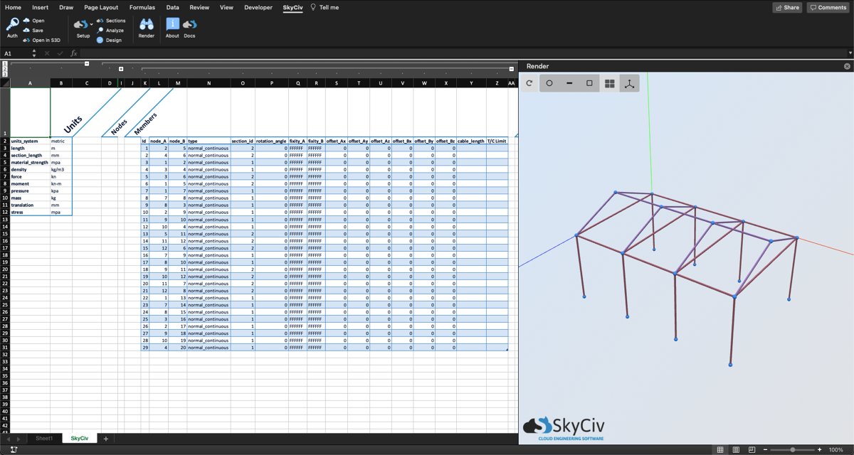 Excel structural analysis plugin showing the 3D renderer and member input