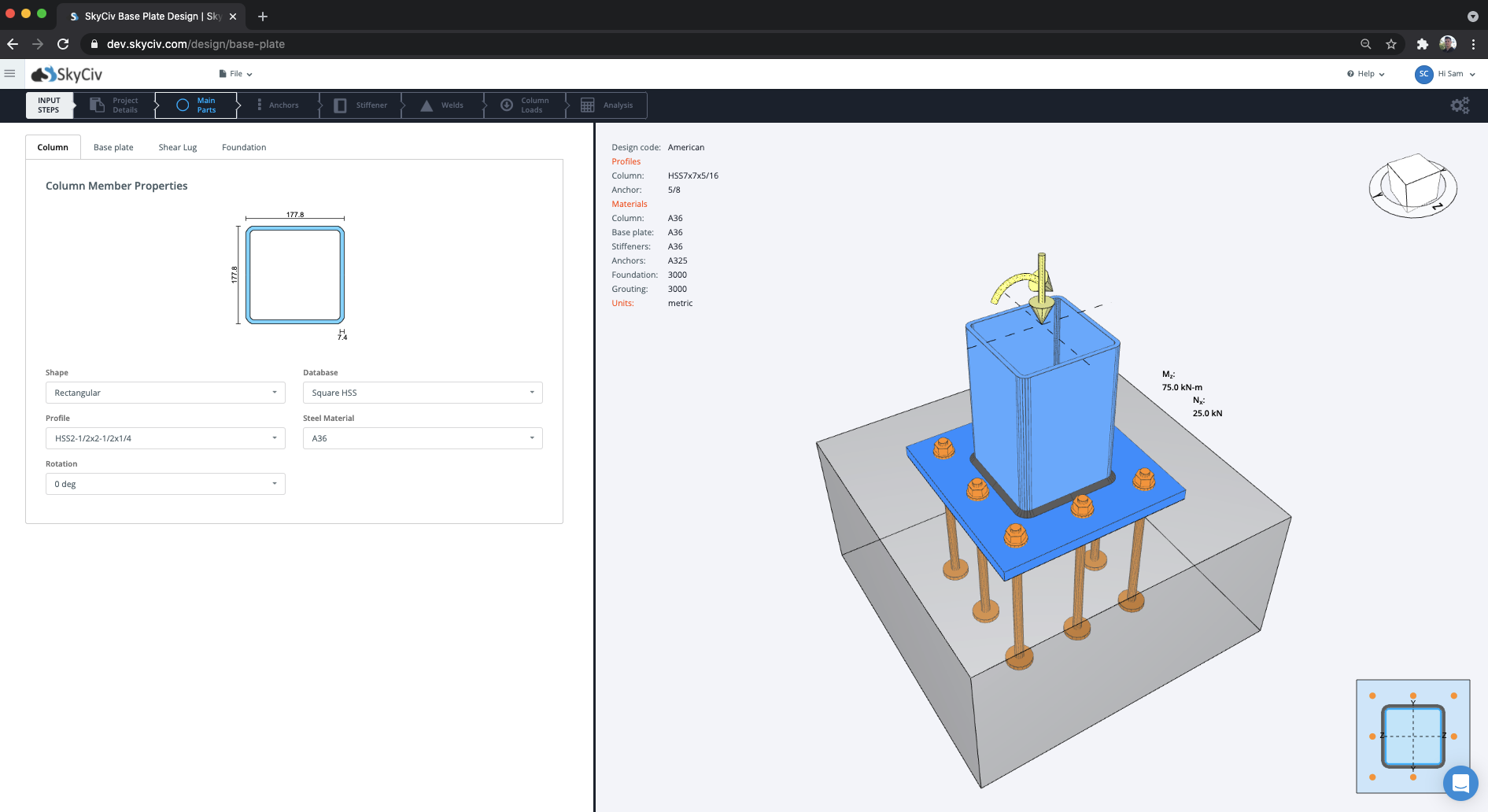 steel base plate design software for structural engineers by skyciv
