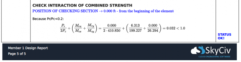 Example steel member code check from a SkyCiv Member Design report