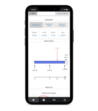 the skyciv mobile app includes a beam calculator for reactions, deflection, bending moment and shear force diagrams