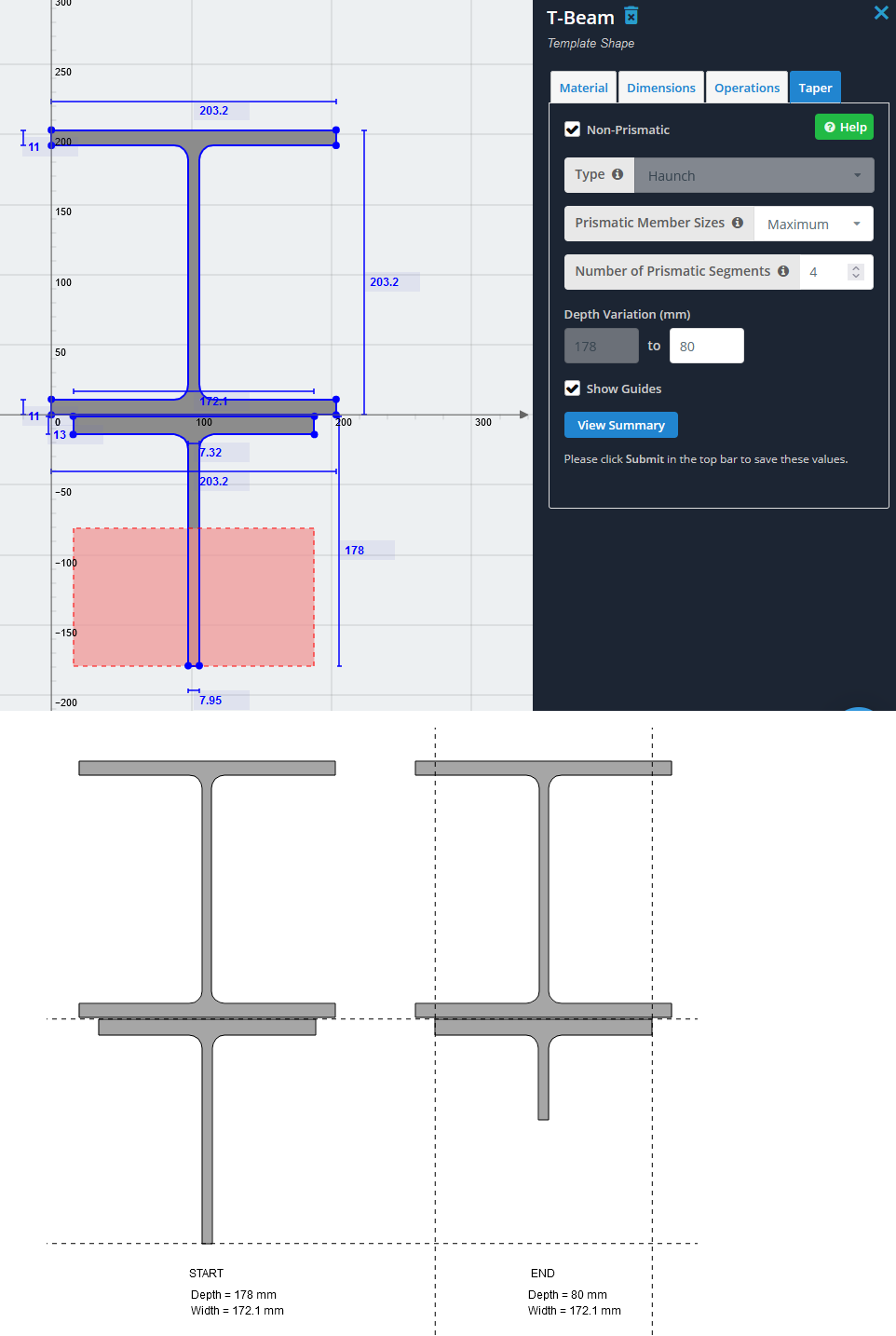 how to model a haunch in structural engineering software